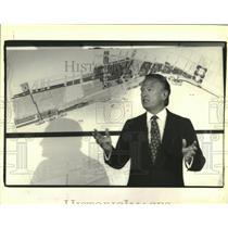 1992 Press Photo Christopher Hemmeter with plans for the $1 billion Casino