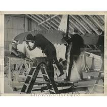 1941 Press Photo British Aircraft workers check on the Tomahawk I upon arrival