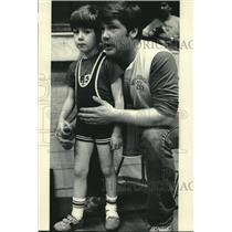 1986 Press Photo Coach Encourages Vogel At Hartford Wrestling Club Tournament