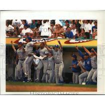 1992 Press Photo Toronto Blue Jays - Baseball Players in Dugout, Oakland