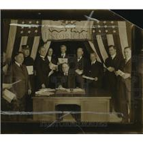 1918 Press Photo Business Men in Office Holding Thrift Stamps
