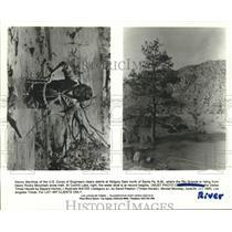 1985 Press Photo Abigulu Dam and Cochiti Lake at Rio Grand River in New Mexico