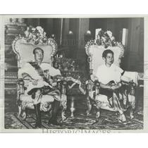 1956 Press Photo King Norodom Suramarit, Queen Sisowath Kossouan Nearyreak