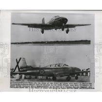 1955 Press Photo A view of Messerschmidt-Saeta, first jet plane built in Spain