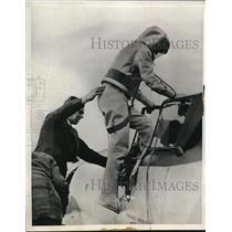 1937 Press Photo Flight Lieut.M.J. Adam wears Oxygen Suit during Test Flight
