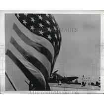 1943 Press Photo American Warship and British Aircraft wait for Sicily orders