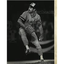 1982 Press Photo Milwaukee Brewers baseball's Mike Caldwell at the World Series