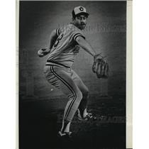 1982 Press Photo Milwaukee Brewers Mike Caldwell in World Series baseball action