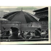 1984 Press Photo Milwaukee Brewers baseball fans share umbrella on Opening Day