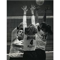 1992 Press Photo High school volleyball player, Katy Duwe, hits ball over net