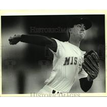 1988 Press Photo San Antonio Missions baseball pitcher Mike Pitz in action