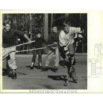 1991 Press Photo Hockey on inline roller skates -A & P parking lot, Mandeville