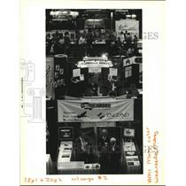 1994 Press Photo Airport vendor booths at International Air Cargo Conference