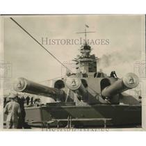 "1929 Press Photo Huge Guns on Battleship ""Nelson"" arrive at Malta - nem72138"