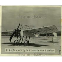 1959 Press Photo replica of Clyde Cessna's 1911 airplane on display - lrx01230