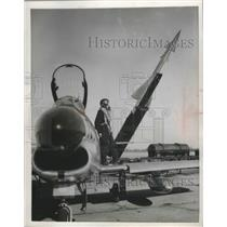 1954 Press Photo Nike Missile and F-86 Sabrejet Pilot, Selfridge Field