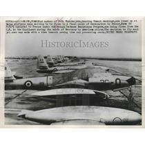 1953 Press Photo F-84 Thunderjets lined up at Reims Airfield France - nem72613