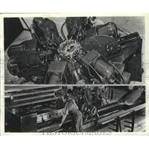 1941 Press Photo Automatic high production machine in an engine factory