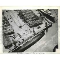 1942 Press Photo French steamer Porthos on her side at dock in Casablanca