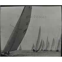 1951 Press Photo Sailboats skim the Milwaukee harbor during Great Lakes race