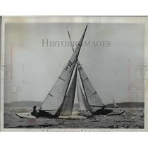 1962 Press Photo Two sailboats at international sailing regatta, Hanko, Norway