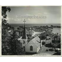 1951 Press Photo Church rises over historic Island of Mackinac in Michigan