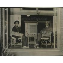1929 Press Photo Premier Yuko Hamaguchi of Japan and wife on verandah in Tokyo.