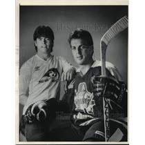 1985 Press Photo Milwaukee hockey players Tom Bolster and Dale Yakiwchuk