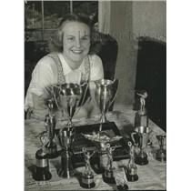 1941 Press Photo Rita Weaver shows off swimming trophies in Troy, New York
