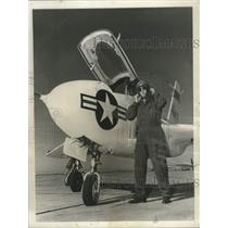 1950 Press Photo John Griffith prepares to start Northrup X4 flight tests