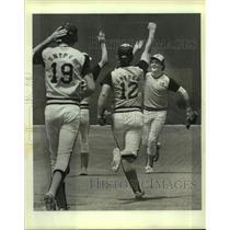 1983 Press Photo Snyder High baseball players celebrate a win - sas10203