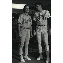 Press Photo Milwaukee Brewers baseball players Gantner & Wegman in new uniforms