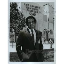 1984 Press Photo Al Michaels covers ABC's Summer Olympics track & field event