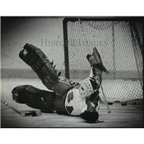 1982 Press Photo Jim Craig, hockey goalie goes down in front of goal net.