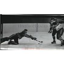 1972 Press Photo Goalie Terry Cauderau dives at puck from Milwaukee's Cal Harris