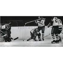 1973 Press Photo Milwaukee Admirals players helped protect goalie from opponents