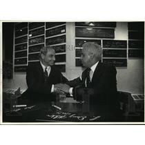 1991 Press Photo Milwaukee Brewers Sal Bando and Governor L. Douglas Wilder