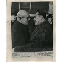 1965 Press Photo Leonid Brezhnev and Wladyslaw Gomulka meet in Warsaw