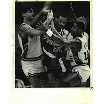1989 Press Photo San Antonio Spurs & Portland Trail Blazers play NBA basketball