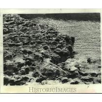 "Press Photo Leaf River's ""soft rock"" resembles cratered lunar surface."
