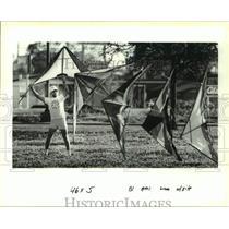 1991 Press Photo Ron Billingsley lifts his line of five stunt kites - nob61346