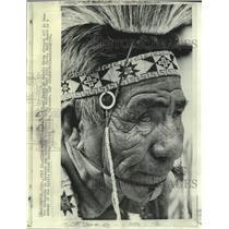 1970 Press Photo Edward Hard Heart, Cheyenne, Wyoming Frontier Days Sioux dancer