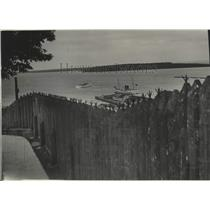 1941 Press Photo Stockade at Fort Holmes on Mackinac Island - mjx70186
