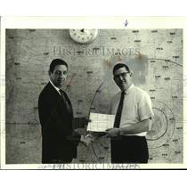 1970 Press Photo Edgar W. Brasfield, Air Traffic Control, & man in front of map
