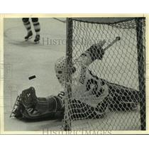 1974 Press Photo Houston Aeros' goaltender Ron Grahame stops a shot on goal.
