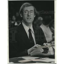 1977 Press Photo Dennis Sell, Milwaukee Bucks basketball statistician
