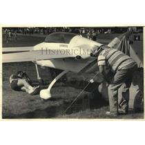 1986 Press Photo Gary and Donald Hines at Experimental Aircraft Fly-in Oshkosh