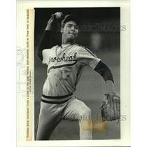 1990 Press Photo Freshman Brian Steinbach of Hartland Arrowhead fired a pitch.