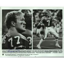 1990 Press Photo Denver Broncos football players Karl Mecklenburg, John Elway
