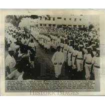 "1952 Press Photo H.M.S. Kenya crewmen March in ""show of force"" in Mombasa, Kenya"